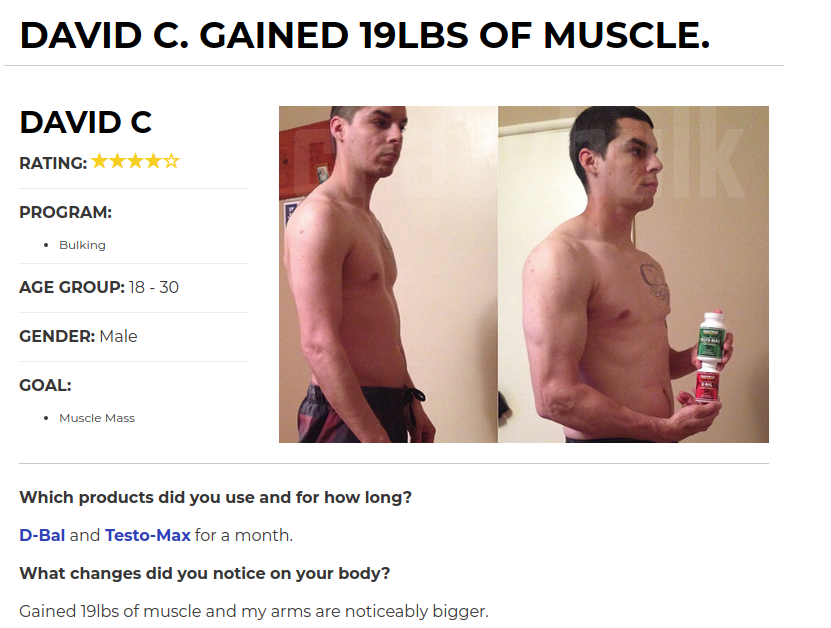 David C Before and After Crazy Bulk Testo Max