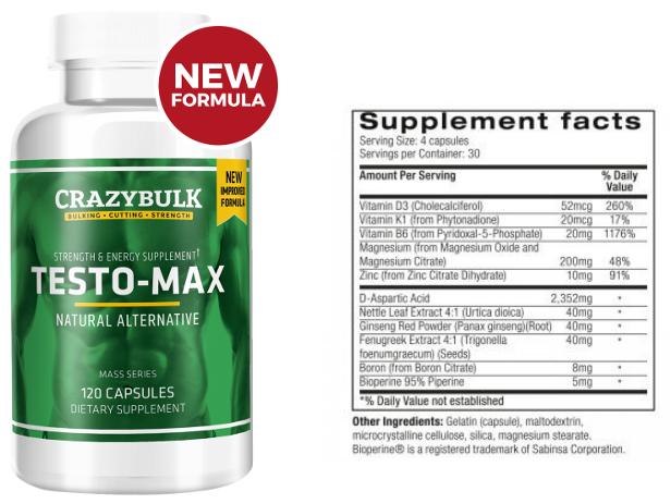 Crazy-Bulk Testo-Max with Ingredients