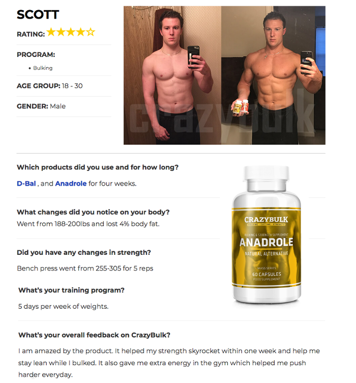 Scott Before and After testimonial Crazy bulk Anadrole