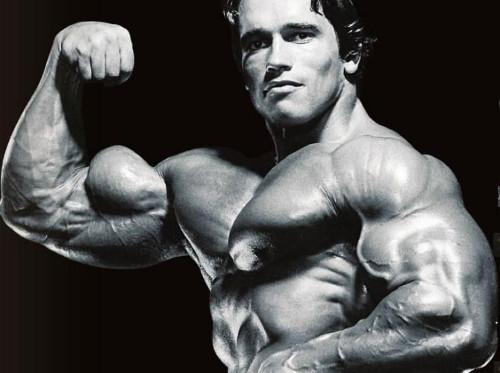 Arnold Flexing biceps