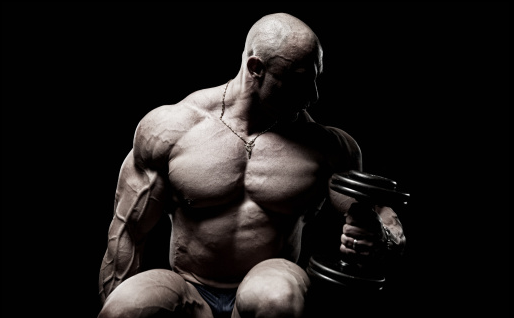 Bodybuilder Doing Hammer Curls