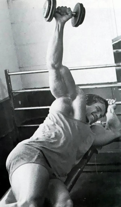 Arnold Schwarzenegger doing lying lateral reaises