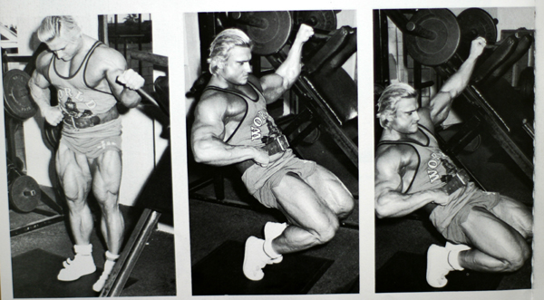 Tom Platz performing sissy squats