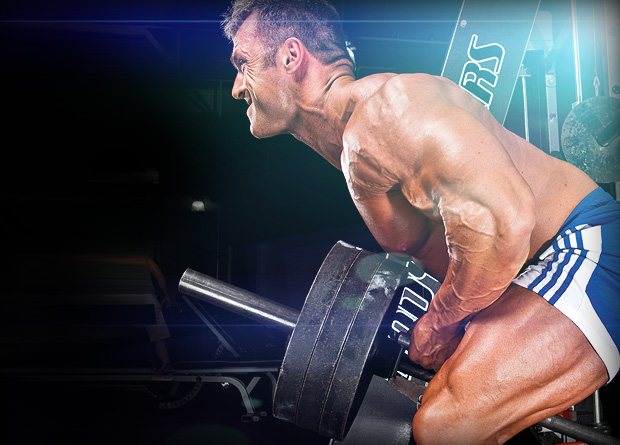 Bodybuilder performing T-Bar Rows