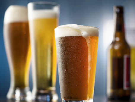 Glasses of different kinds of beer