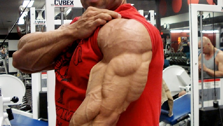 Bodybuilder FLexing Triceps