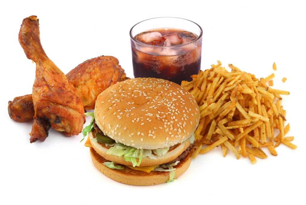 fast food chicken, burger and fries