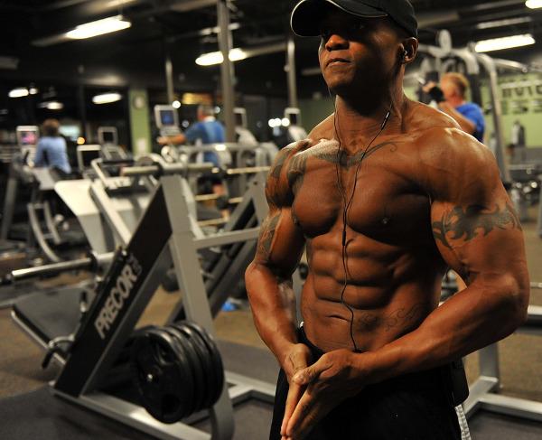 Lean Bodybuilder Flexing and Posing