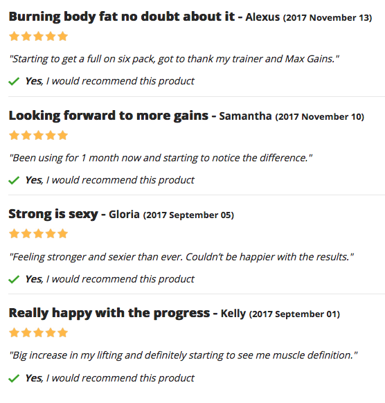 Max Gains for Women Testimonials