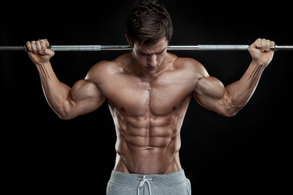 Ripped Bodybuilder With Barbell on Back
