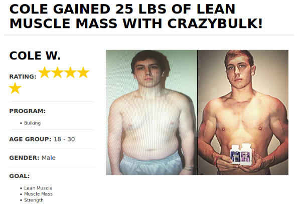 Cole Before and After Crazy bulk