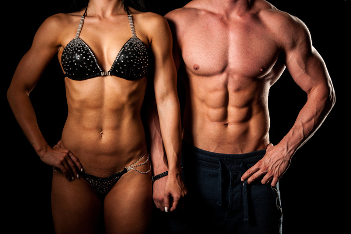 Ripped and Shredded Male and Female Bodybuilder
