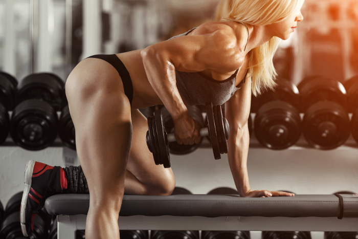 woman doing rows