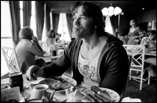 Arnold Schwarzenegger Eating Breakfast