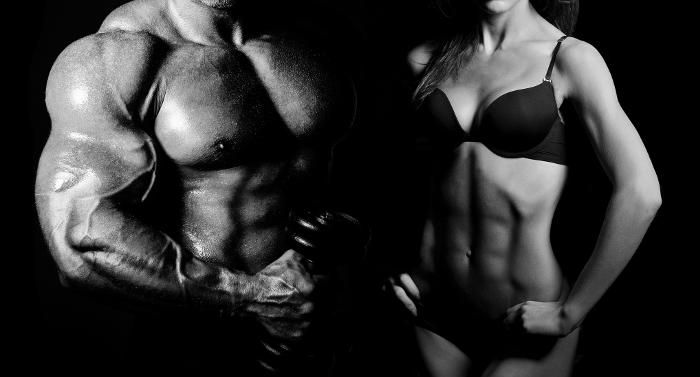 Male and Female Bodybuilder Posing