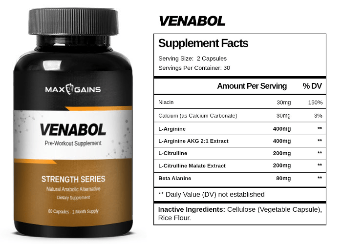 Max Gains Venabol Label