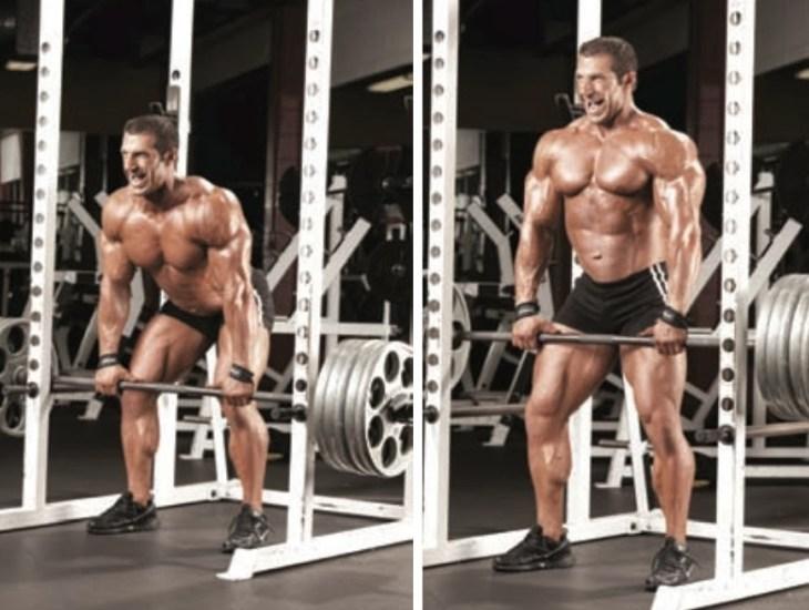 Bodybuilder doing rack pulls
