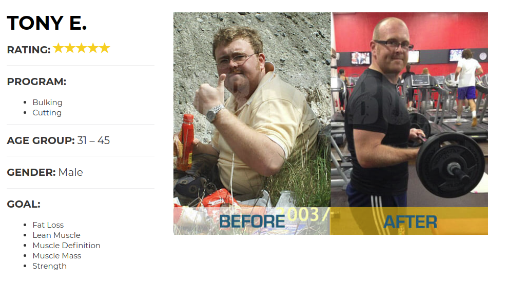 Tony Lost Body Fat and Increased Muscle