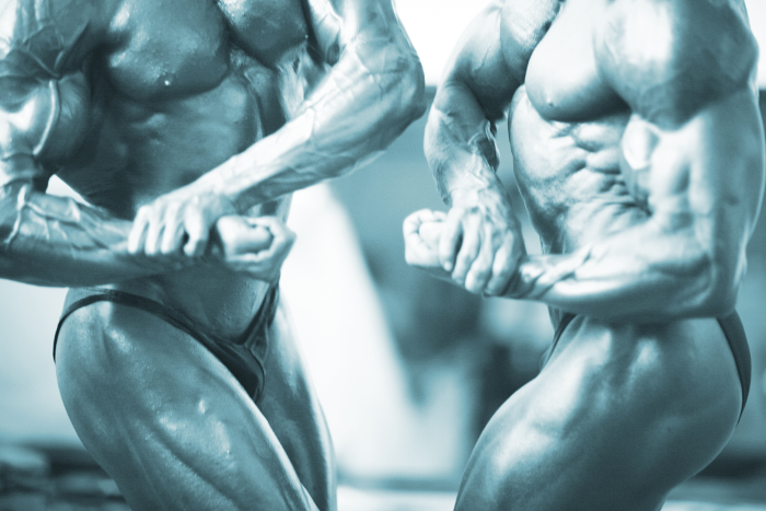 2 Male Bodybuilders Posing