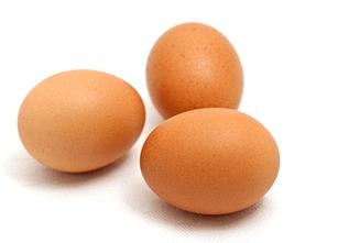 3 fresh brown eggs