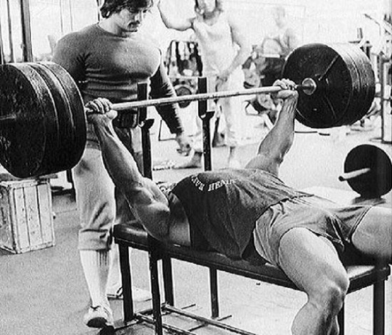 Arnold Schwarzenegger Performing flat bench press