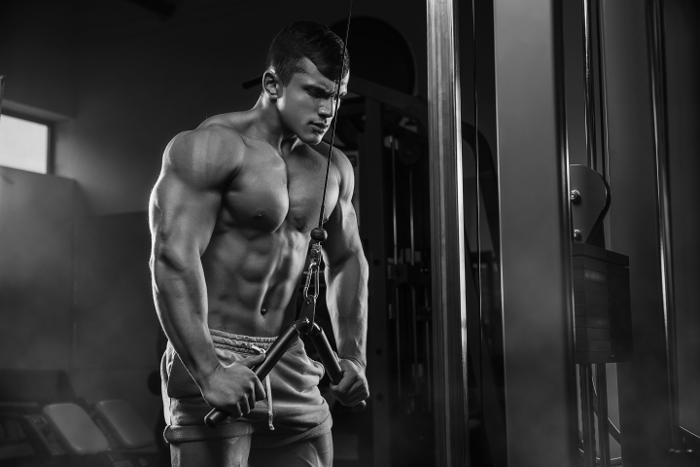 Bodybuilder Doing Tricep Push Downs