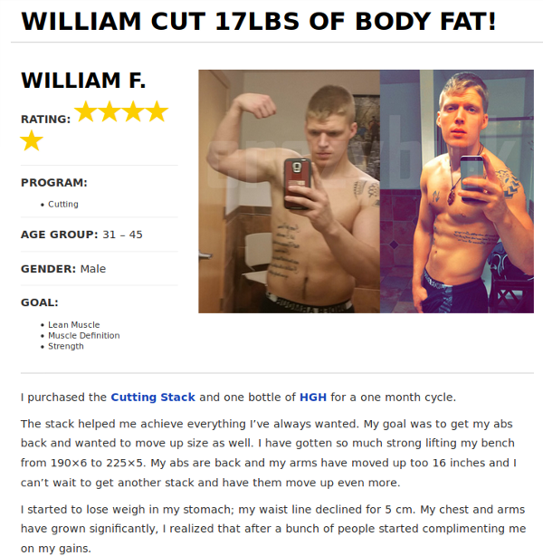 William lost 17 pounds of body fat with the Crazy bulk cutting stack.